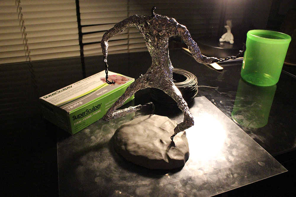 Tin foil and polymer clay sculpture form